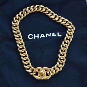 NEW!  Authentic vintage chanel turn lock necklace